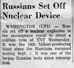 Meridian Star 9-21-1961 Russians test nukes