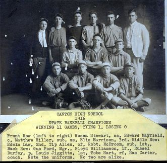 Canton High School 1916 State Baseball Champions
