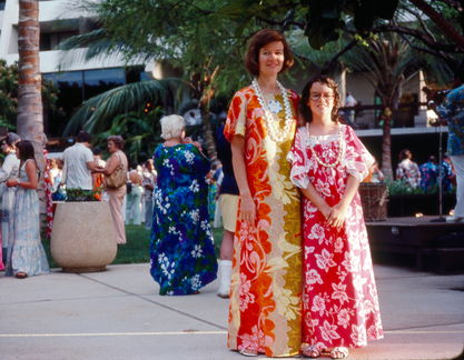 1977 Mary Louise and Susan at a luau on Maui