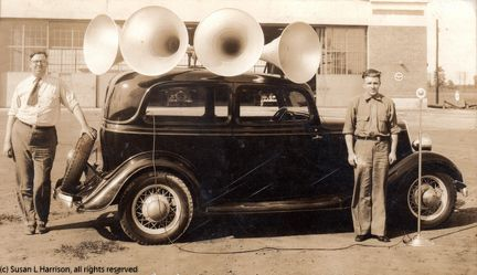 Jesse K Hagemeyer Sr with huge speakers on a car