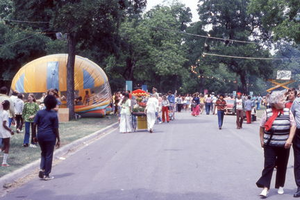 1973 Mayfest - crowd, bounce house