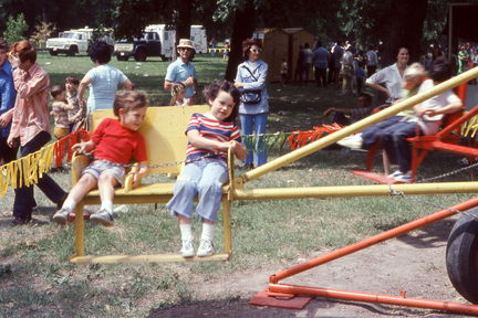 1973 Mayfest - Susan and a friend on a ride