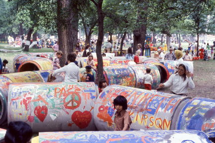 1973 Mayfest - painting concrete pipes