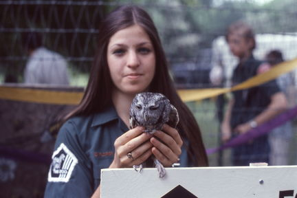 1973 Mayfest - zoo girl with owl