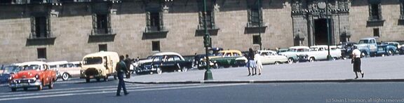 1961 Mexico (4) cars at the Palacio Nacional