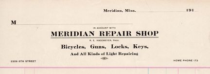 R.E. Hagemeyer's repair shop invoice paper